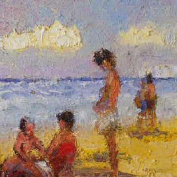 David Rylance Impressionist Original Oil Painting Of A Beach Scene